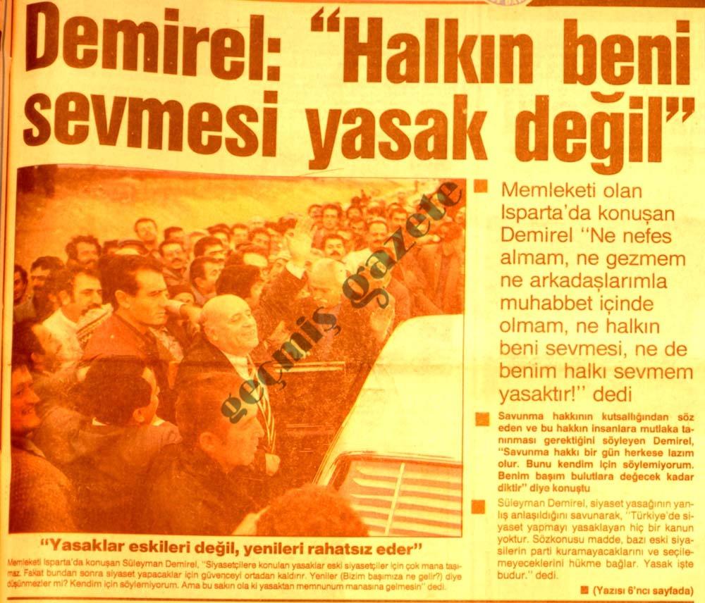 """Demirel: """"Halkın beni sevmesi yasak değil"""""""