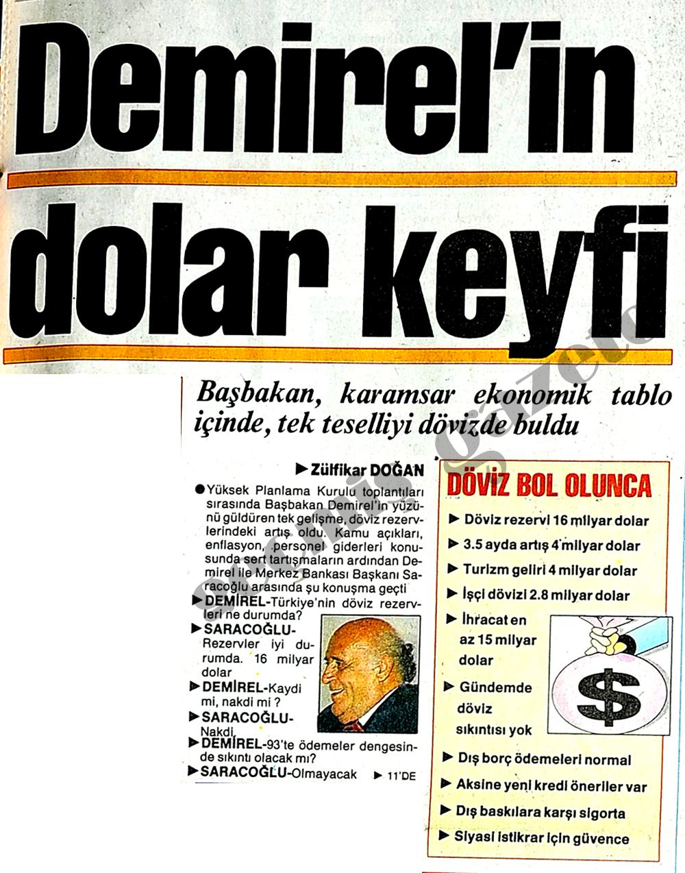 Demirel'in dolar keyfi