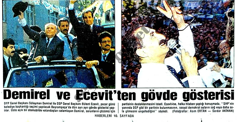 Demirel ve Ecevit'ten gövde gösterisi