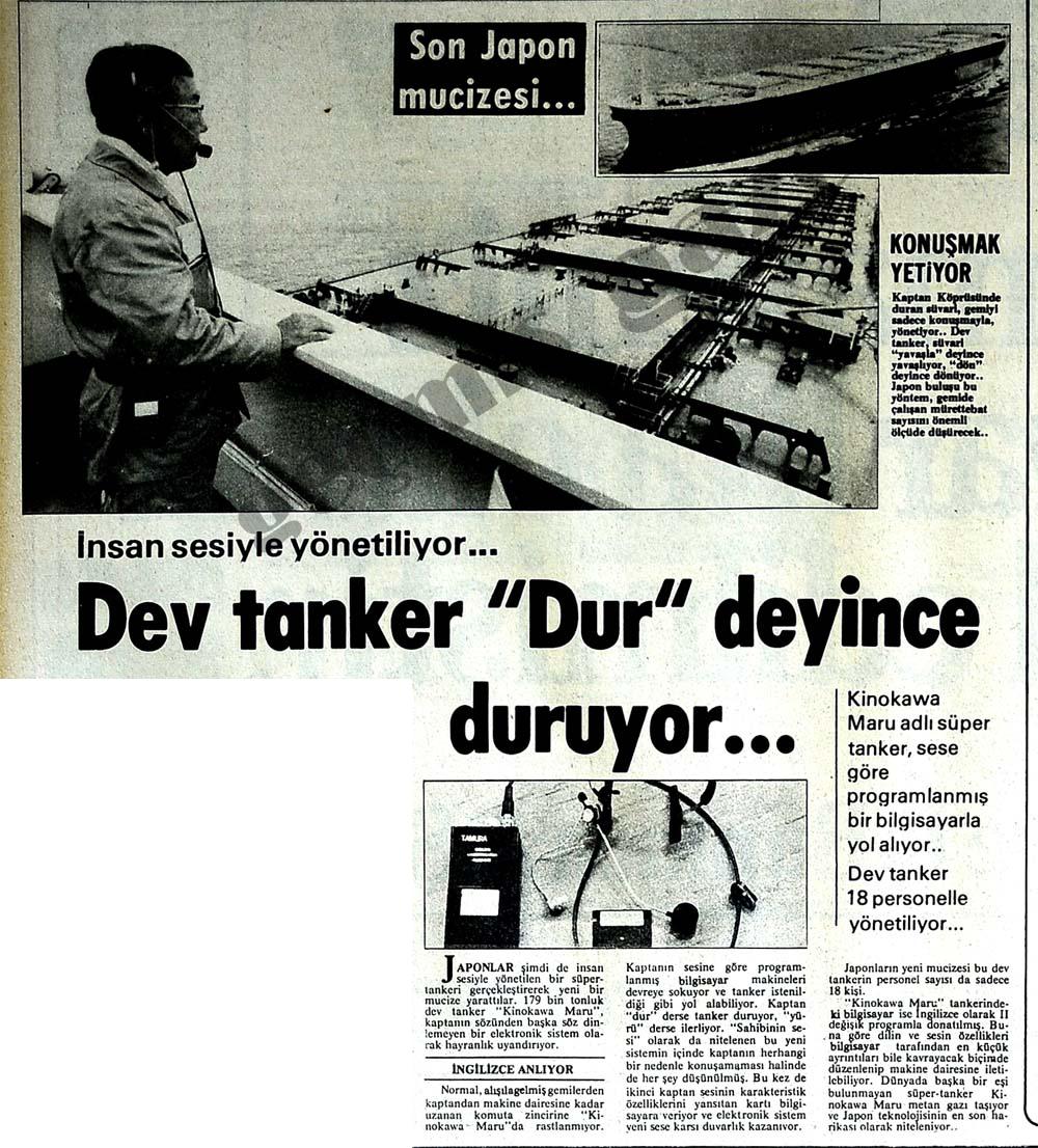 """Dev tanker """"Dur"""" deyince duruyor..."""