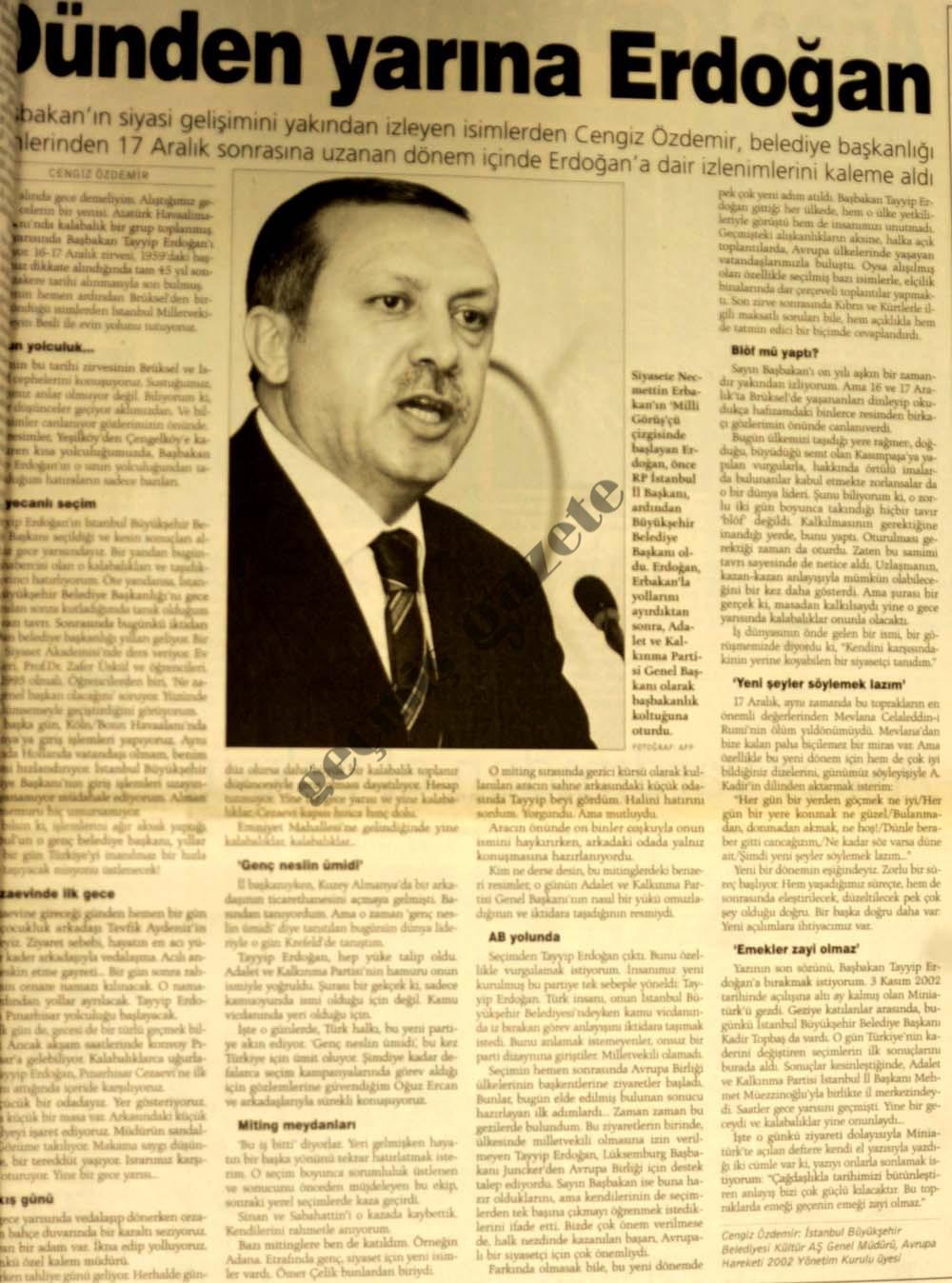 Dünden yarına Erdoğan