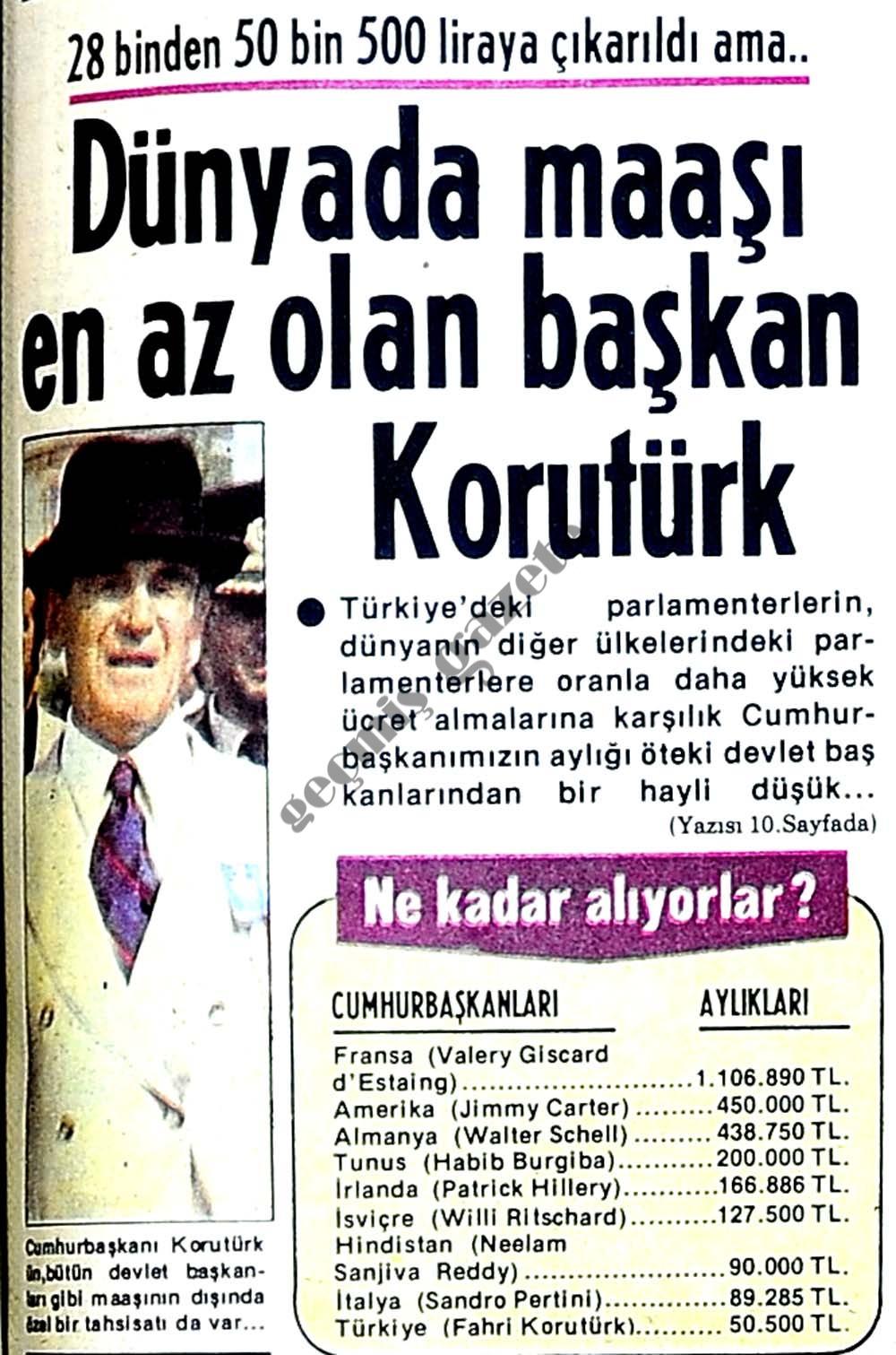 Dünyada maaşı en az olan başkan Korutürk
