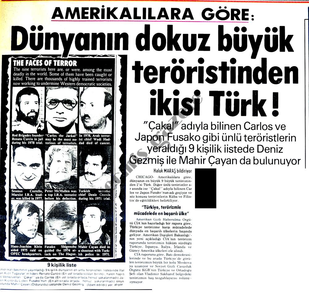 Dünyanın dokuz büyük teröristinden ikisi Türk!