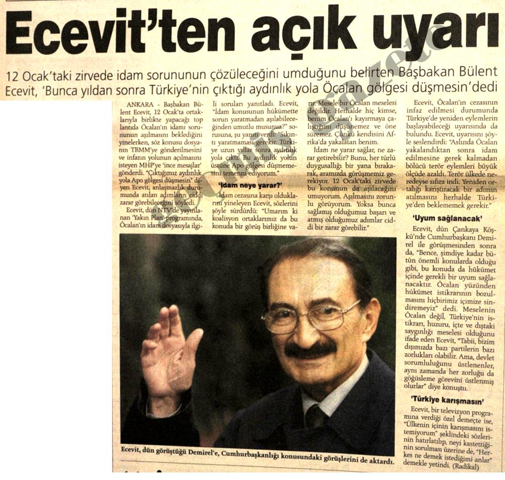 Ecevit'ten açık uyarı