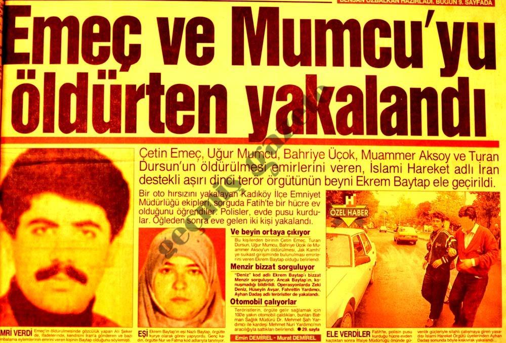 Emeç ve Mumcu'yu öldürten yakalandı