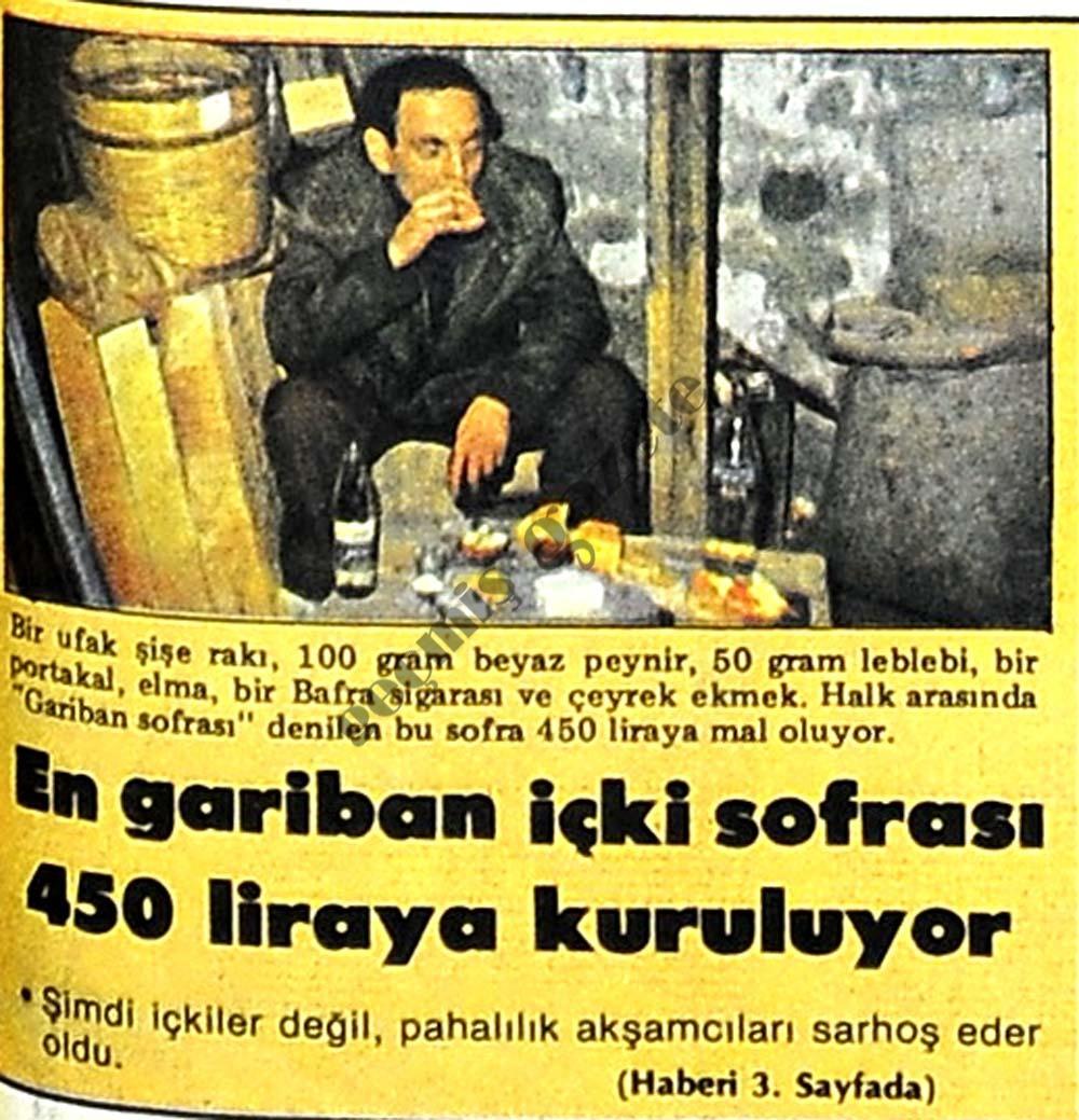 En gariban içki sofrası 450 liraya kuruluyor