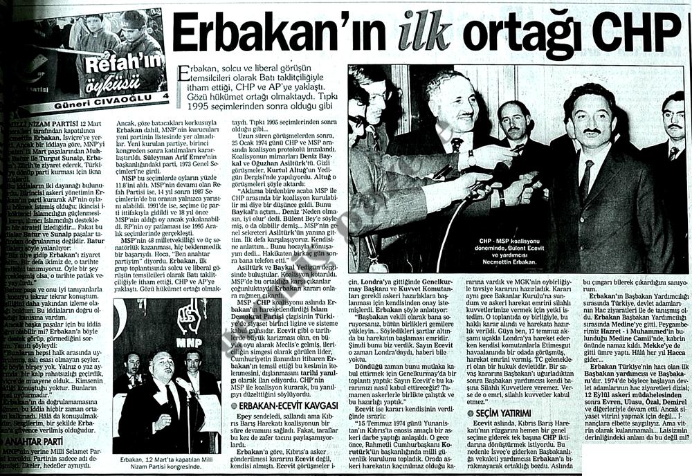 Erbakan'ın ilk ortağı CHP