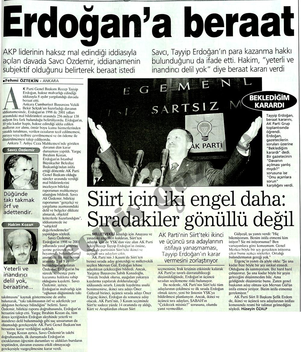 Erdoğan'a beraat