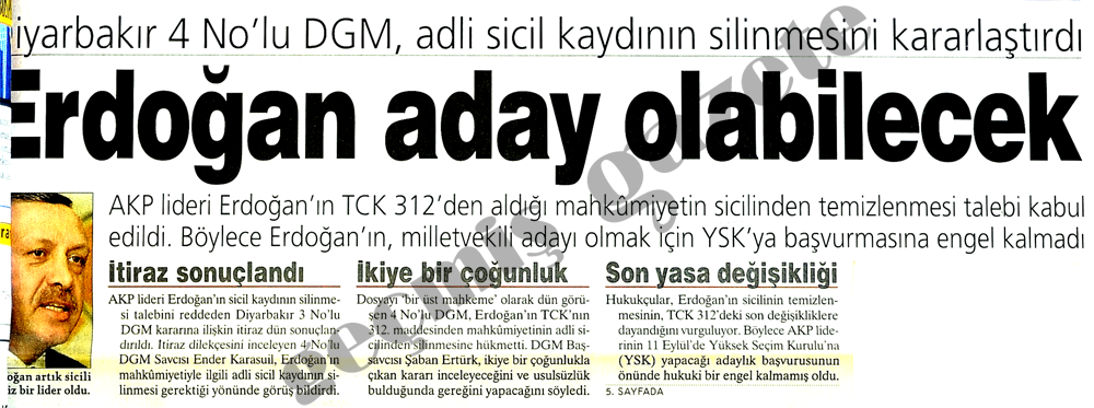 Erdoğan aday olabilecek