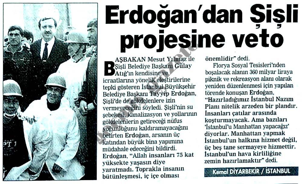 Erdoğan'dan Şişli projesine veto