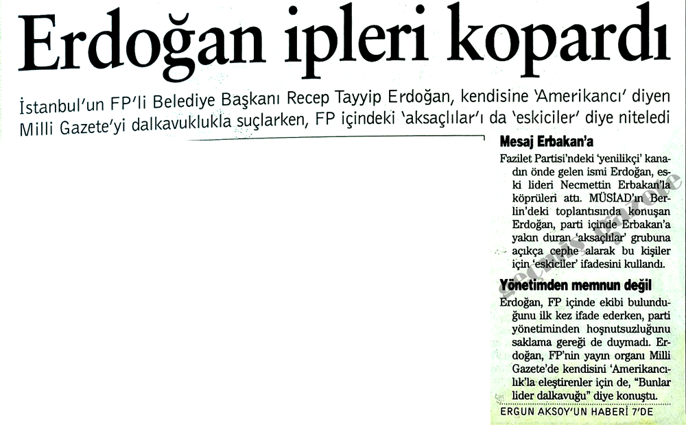 Erdoğan ipleri kopardı