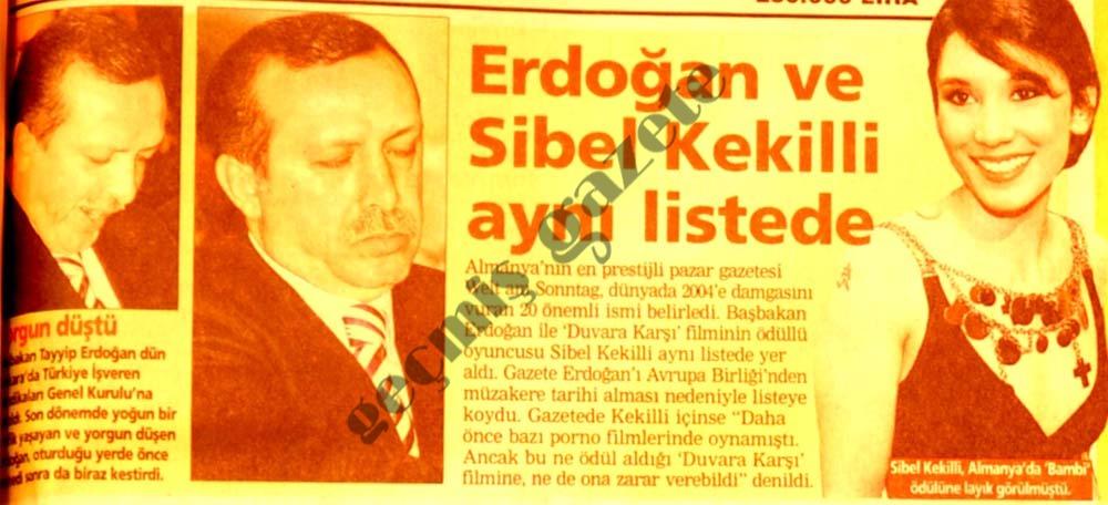 Erdoğan ve Sibel Kekilli aynı listede