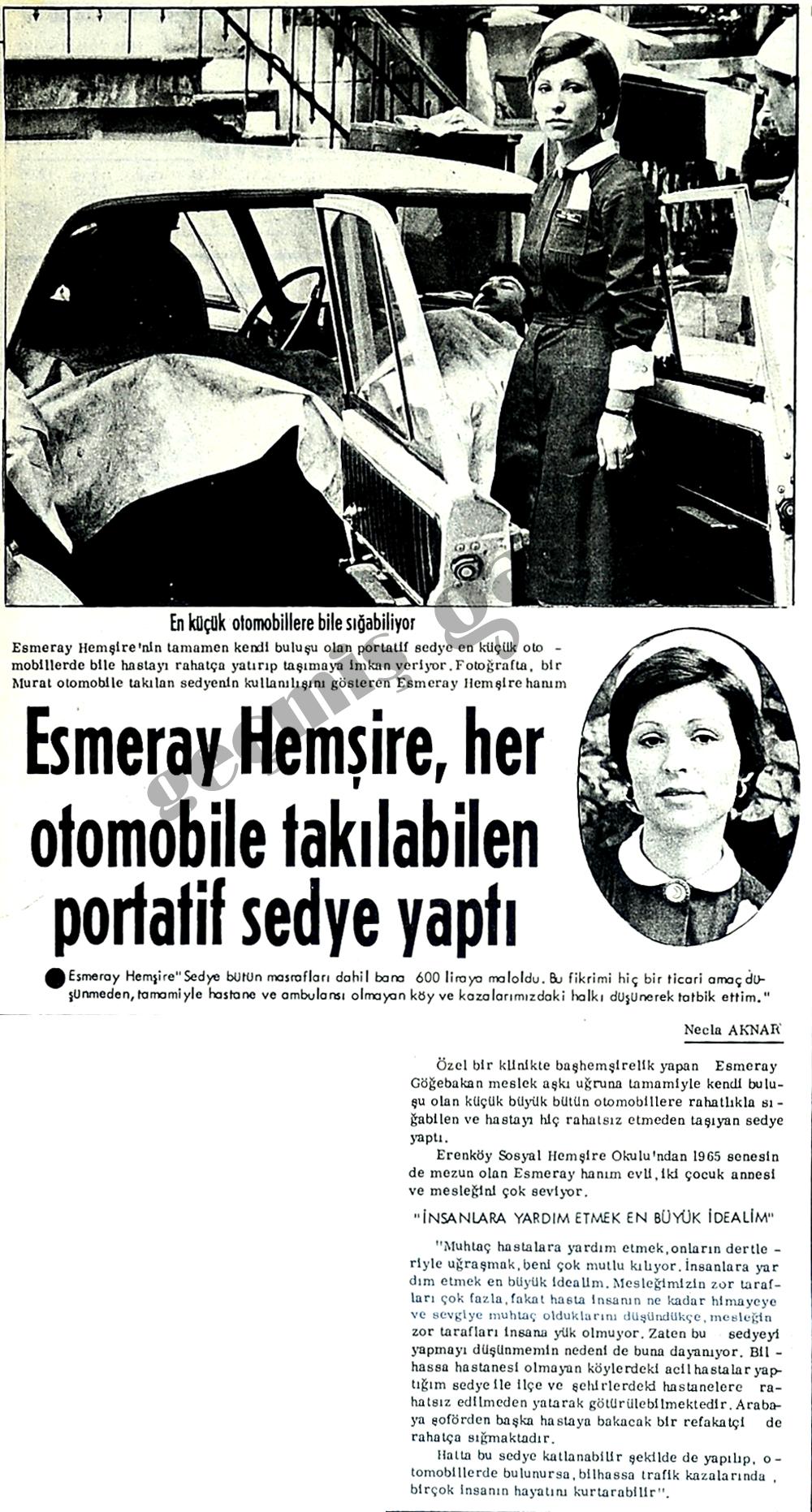 Esmeray Hemşire, her otomobile takılabilen portatif sedye yapıldı