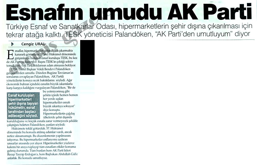 Esnafın umudu AK Parti