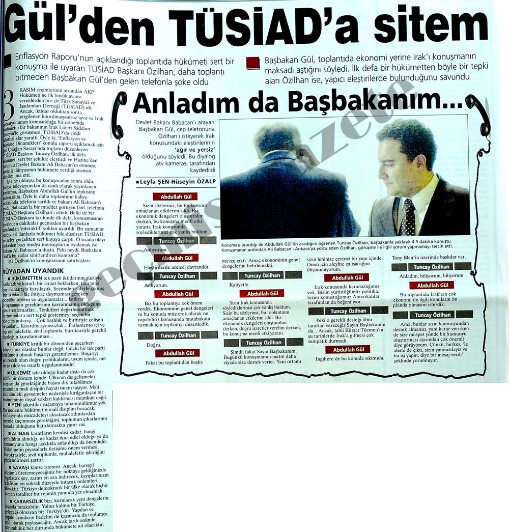 Gül'den TÜSİAD'a sitem
