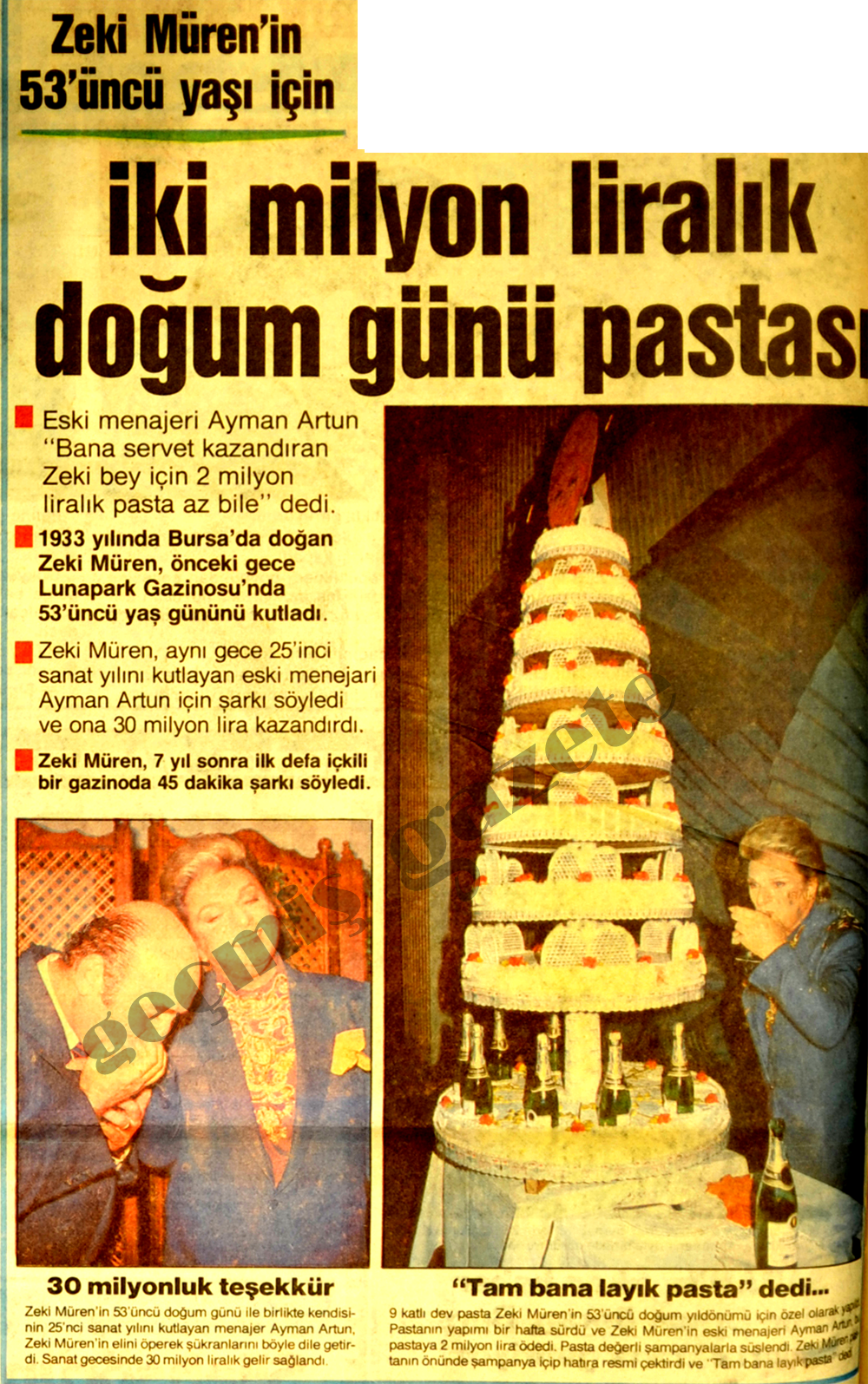 İki milyon liralık pasta