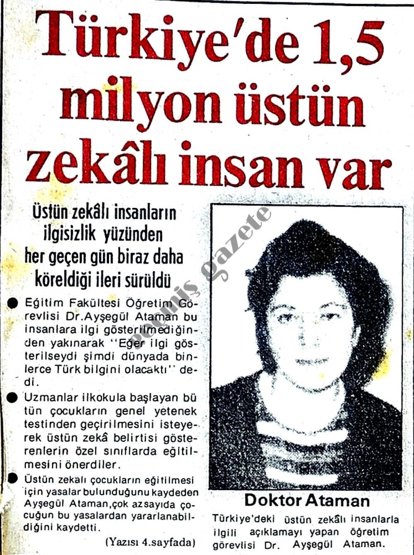 Türkiye'de 1,5 milyon üstün zekalı insan var