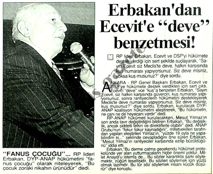 """Erbakan'dan Ecevit'e """"deve"""" benzetmesi"""