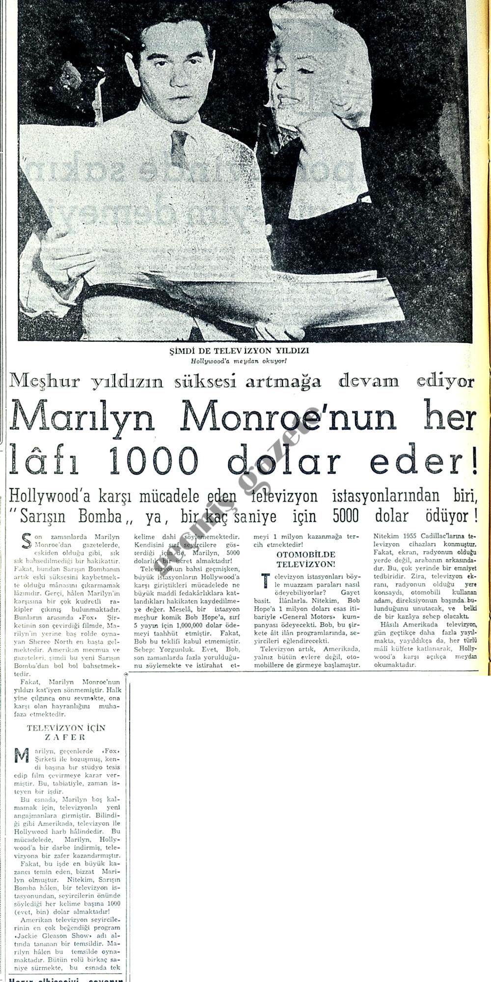 Marilyn Monroe'nun her lafı 1000 dolar eder