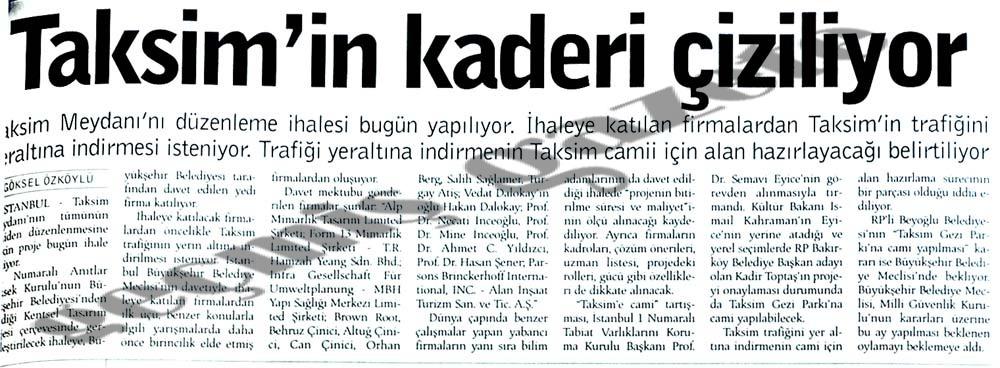 Taksim'in kaderi çiziliyor