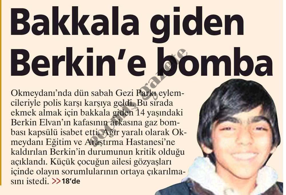 Bakkala giden Berkin'e bomba
