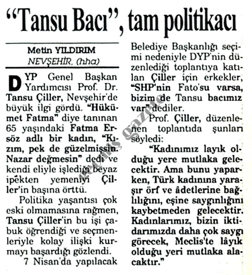 TANSU BACI tam politikacı