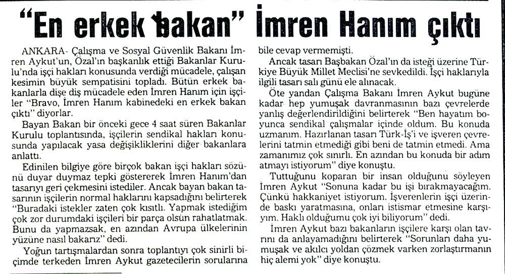 """""""En erkek Bakan"""" İmren Hanım çıktı"""