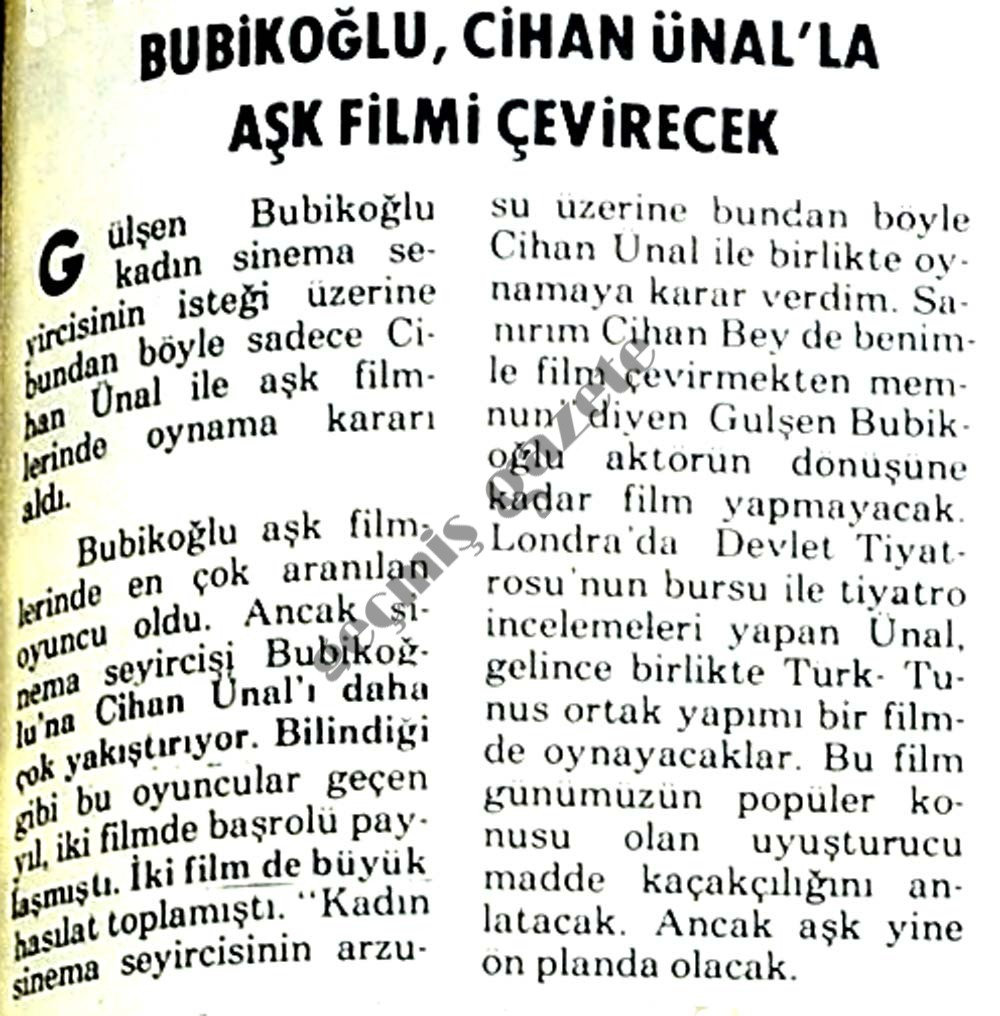 Bubikoğlu, Cihan Ünal'la aşk filmi çevirecek