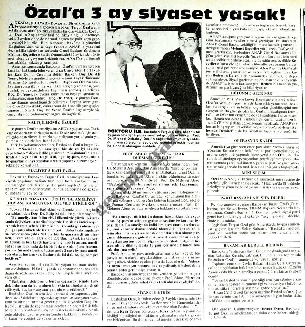 Özal'a 3 ay siyaset yasak