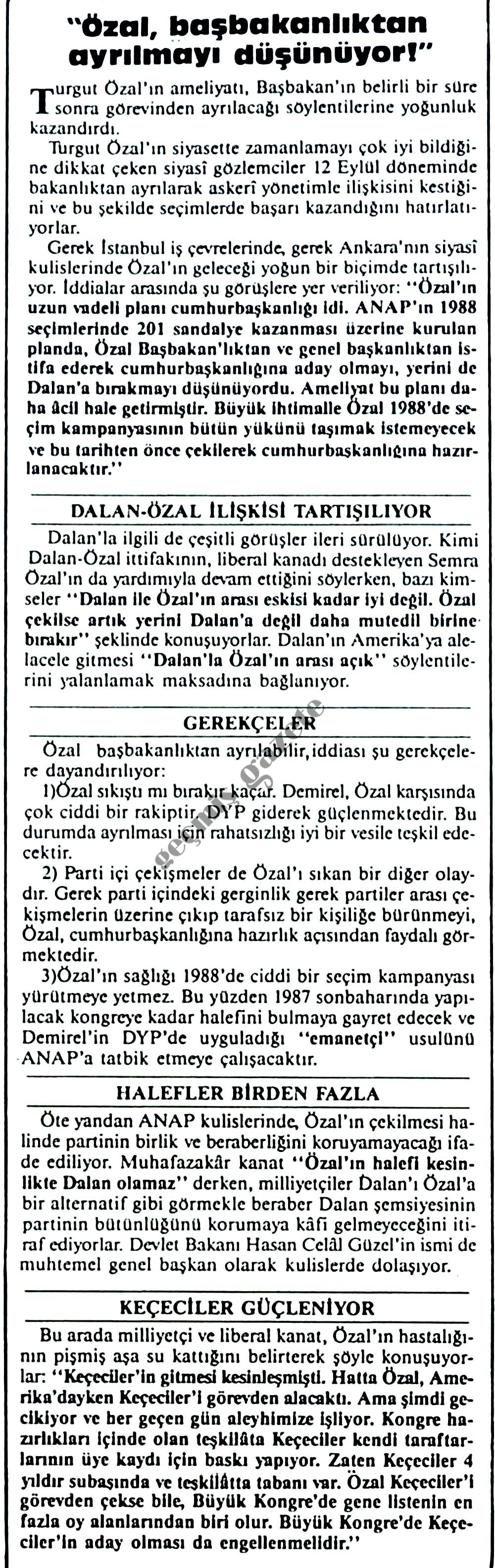 Özal, başbakanlıktan ayrılmayı düşünüyor