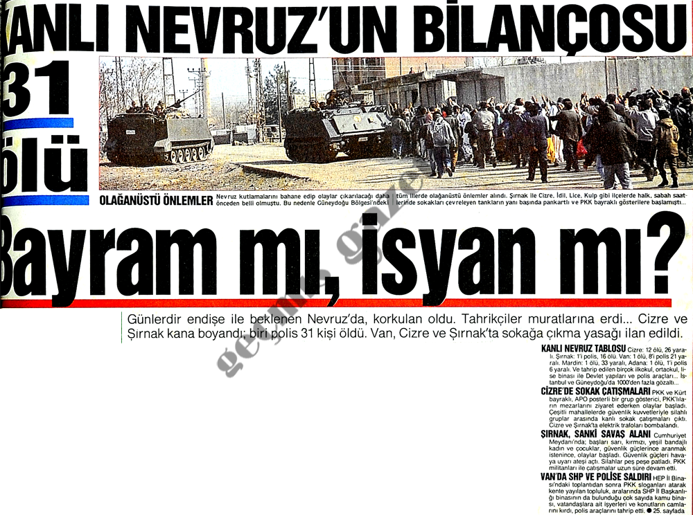 Kanlı Nevruz'un bilançosu 31 ölü