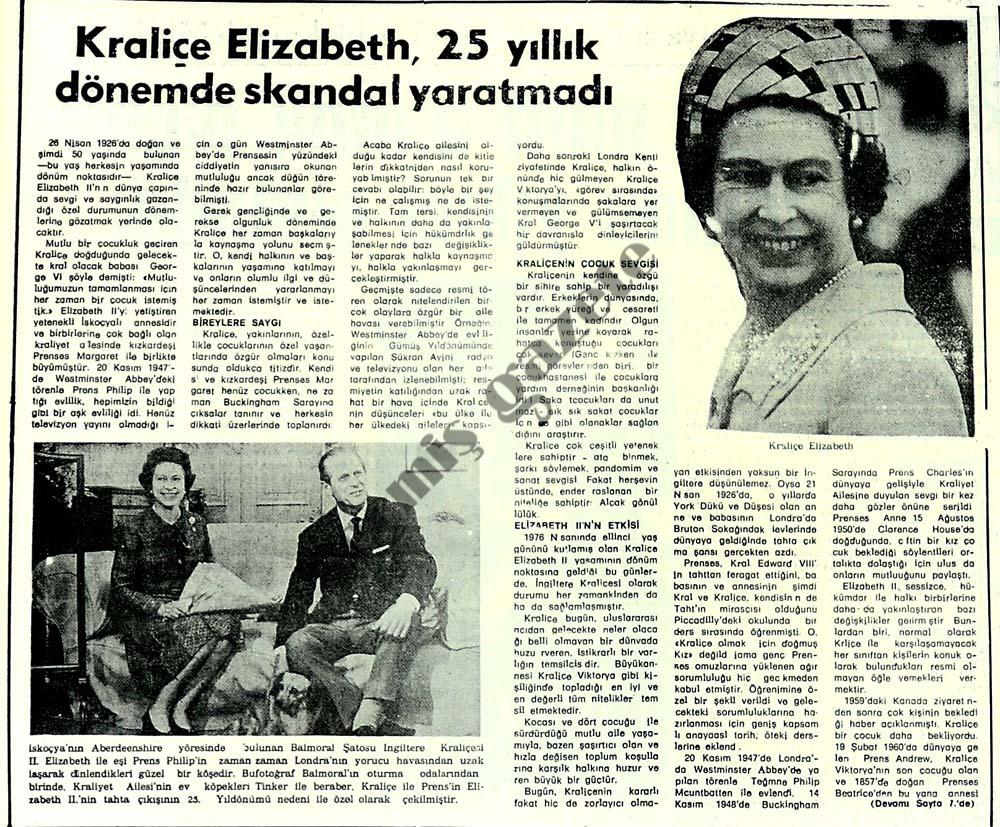 Kraliçe Elizabeth, 25 yıllık dönemde skandal yaratmadı