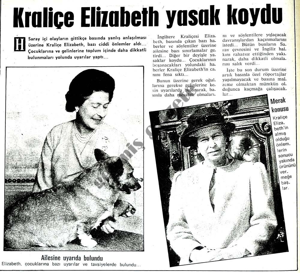 Kraliçe Elizabeth yasak koydı