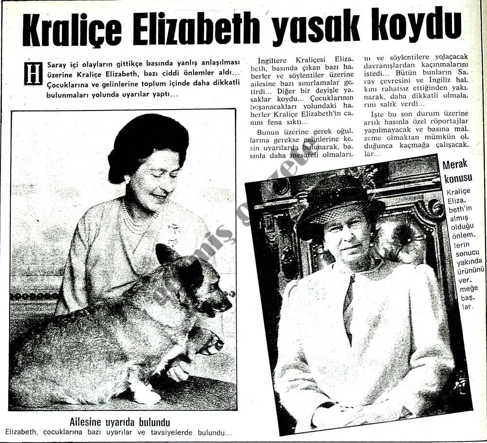 Kraliçe Elizabeth yasak koydu