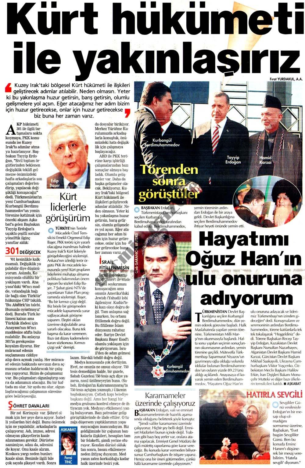Kürt hükümeti ile yakınlaşırız