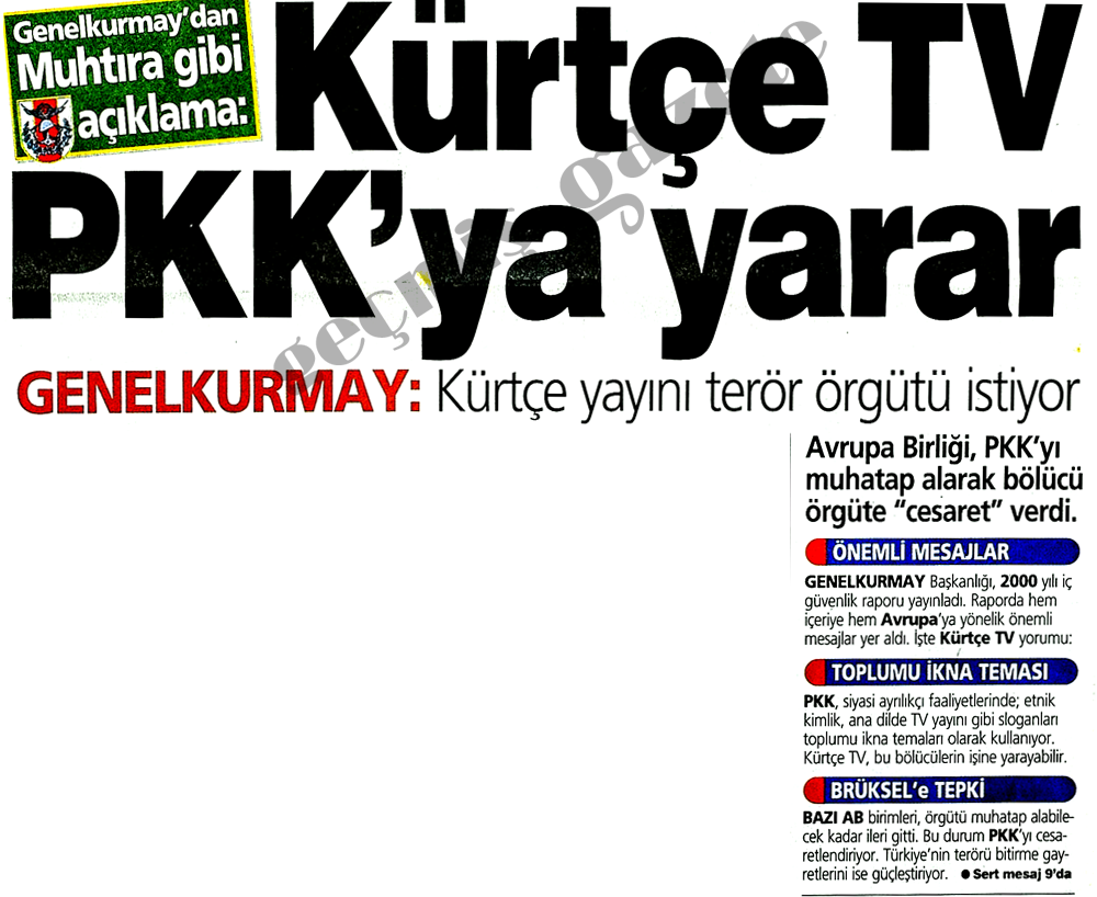 Kürtçe TV PKK'ya yarar