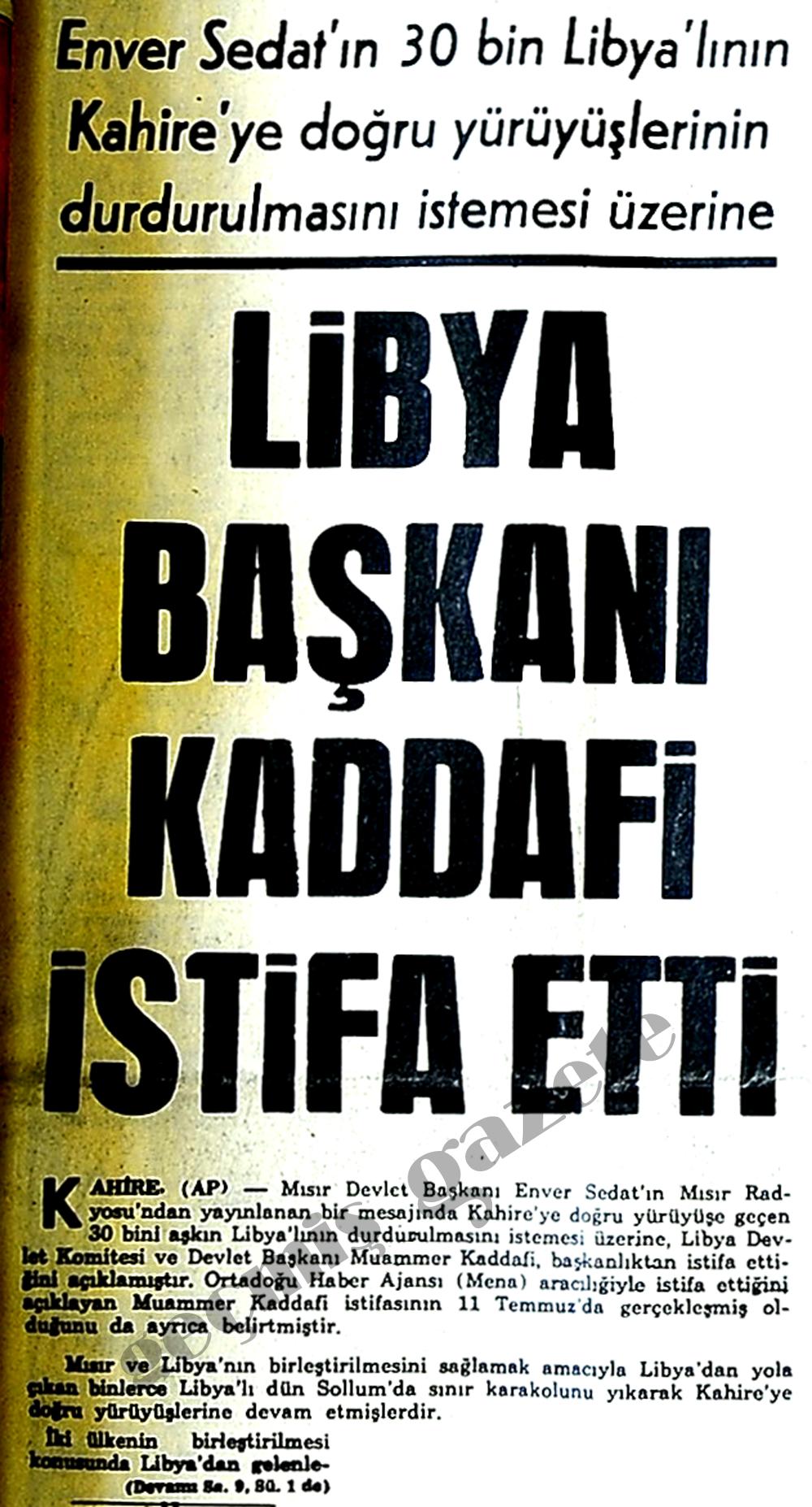 Libya Başkanı Kaddafi istifa etti