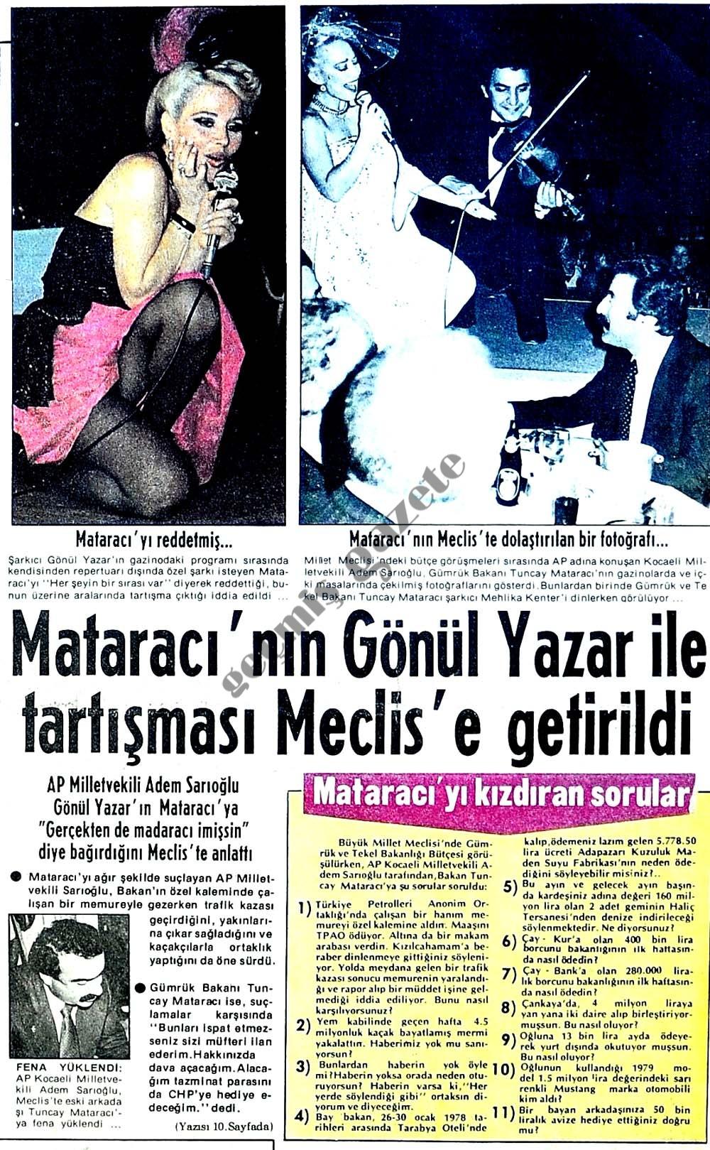 Mataracı'nın Gönül Yazar ile tartışması Meclis'e getirildi