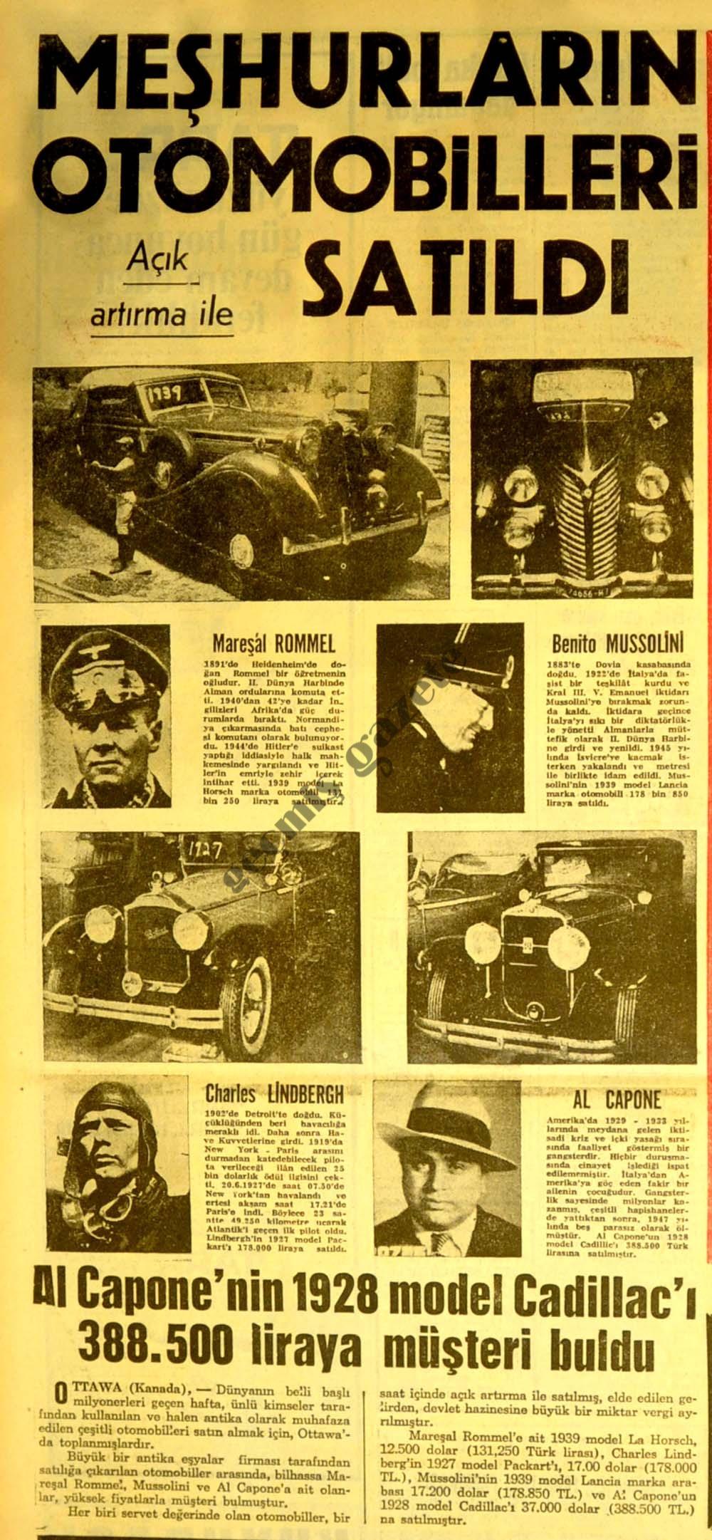 Meşhurların otomobilleri satıldı