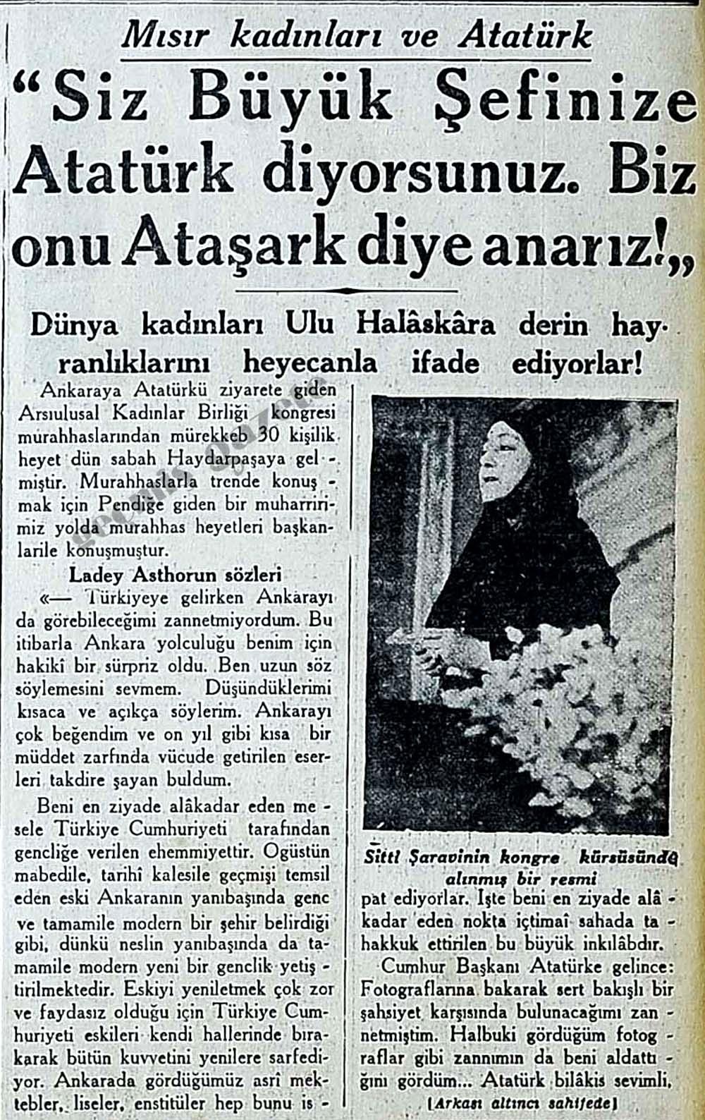 Mısır kadınları ve Atatürk