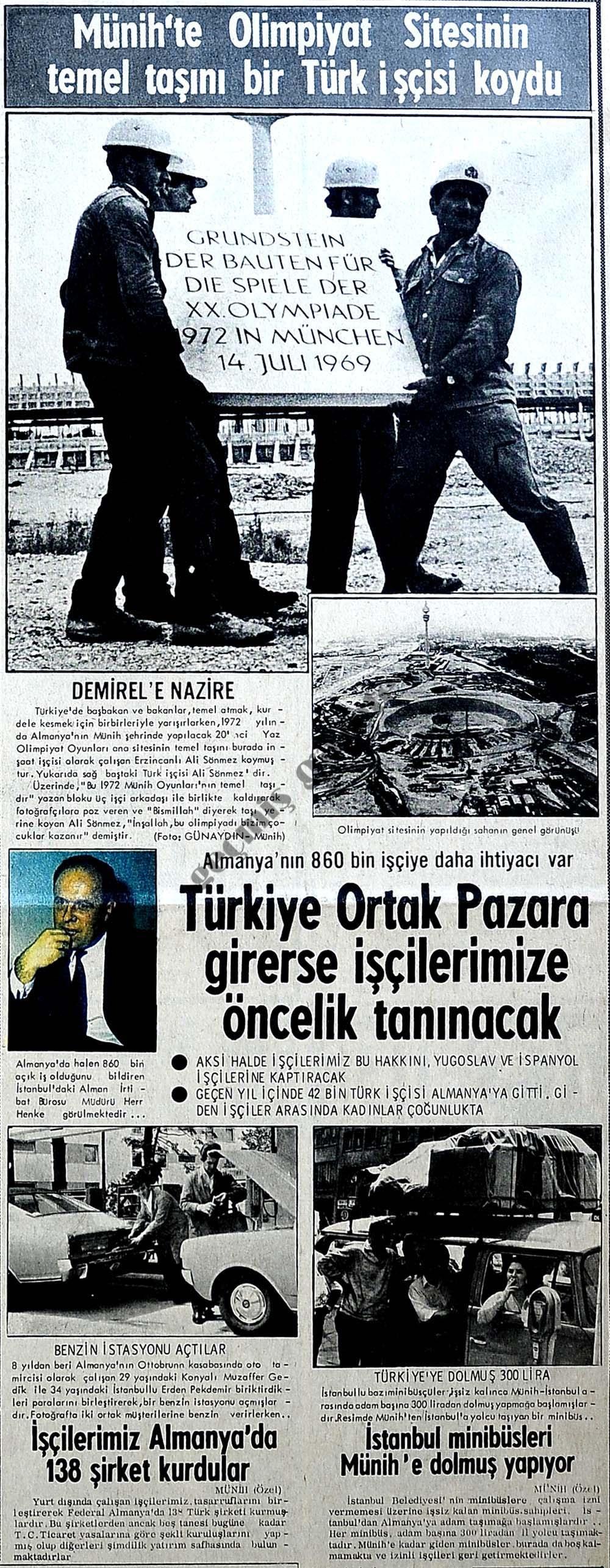 Münih'te Olimpiyat Sitesinin temel taşını bir Türk işçisi koydu
