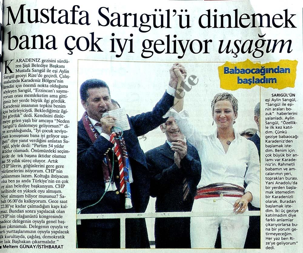 Mustafa Sarıgül'ü dinlemek bana çok iyi geliyor uşağım