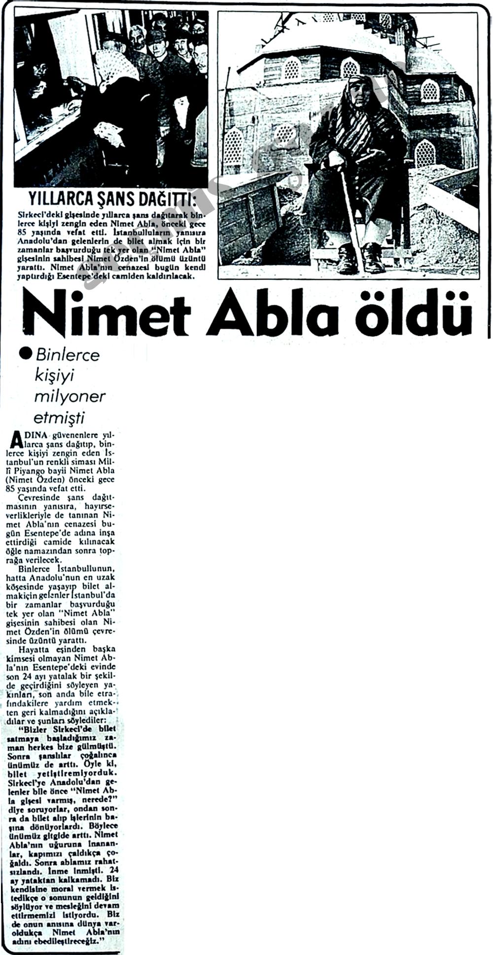 Nimet Abla öldü