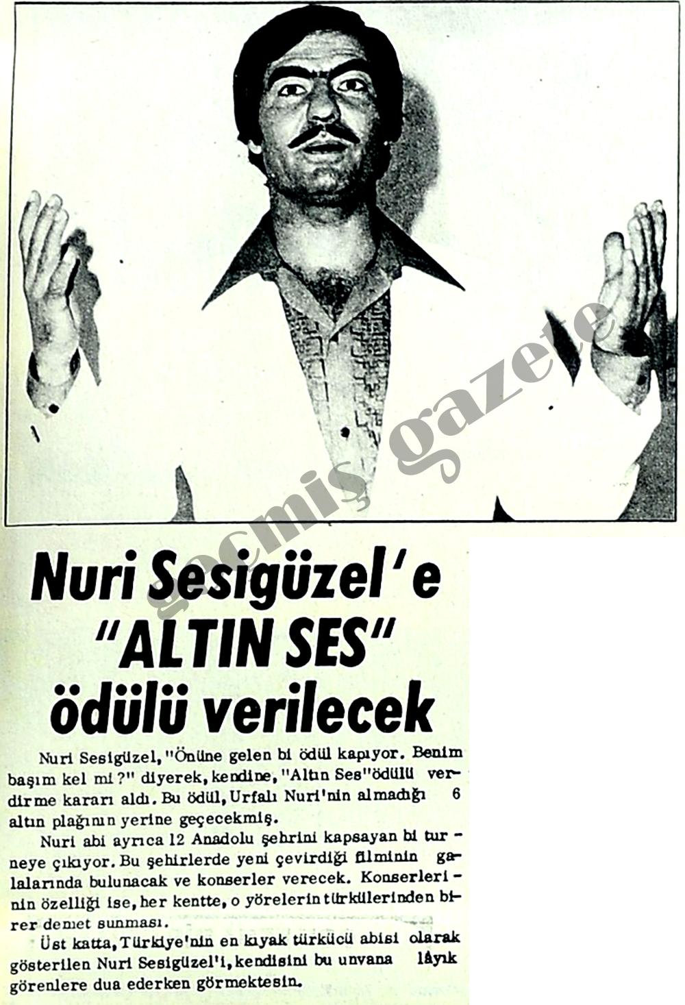 """Nuri Sesigüzel'e """"Altın Ses"""" ödülü verilecek"""