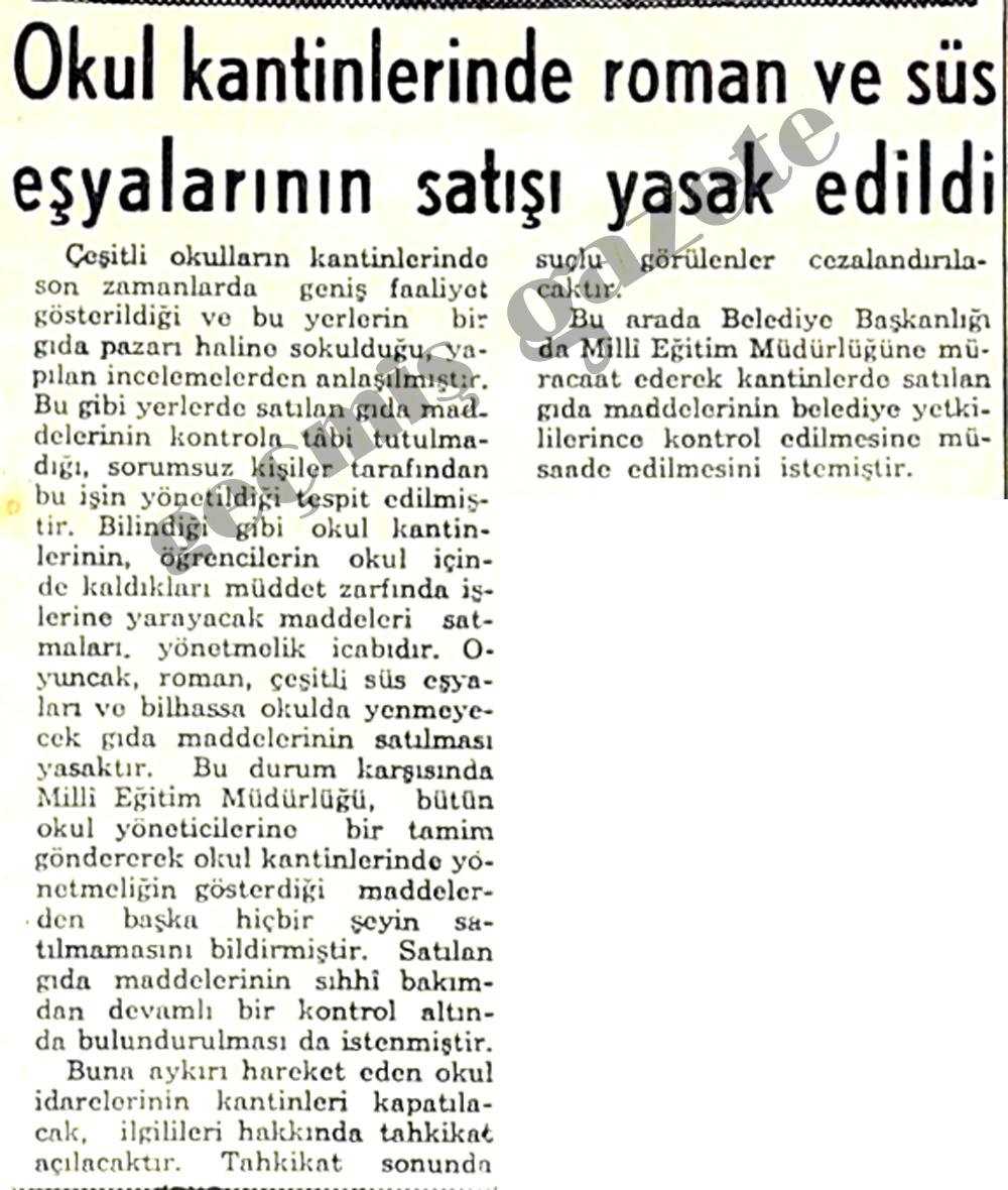 Okul kantinlerinde roman süs eşyalarının satışı yasak edildi