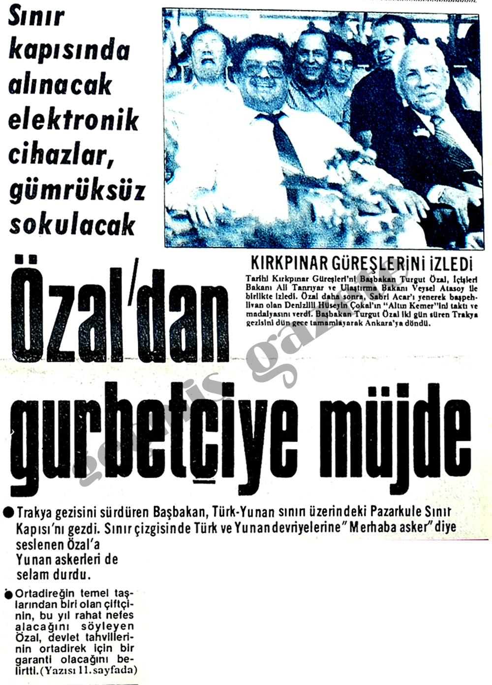 Özal'dan gurbetçiye müjde