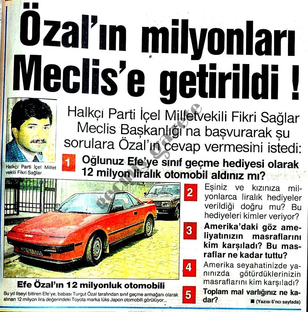 Özal'ın milyonları Meclis'e getirildi
