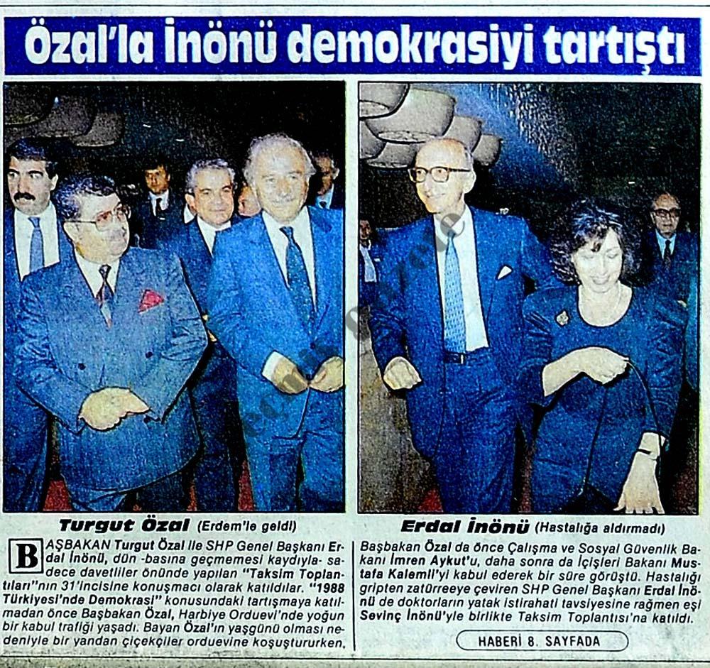 Özal'la İnönü demokrasiyi tartıştı