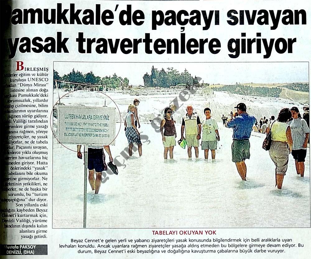 Pamukkale'de paçayı sıvayan yasak travertenlere giriyor