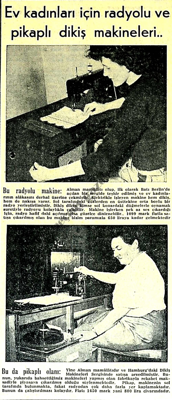 Radyolu ve pikaplı dikiş makineleri